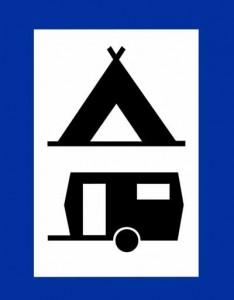 camping verkeersbord met tent en caravan